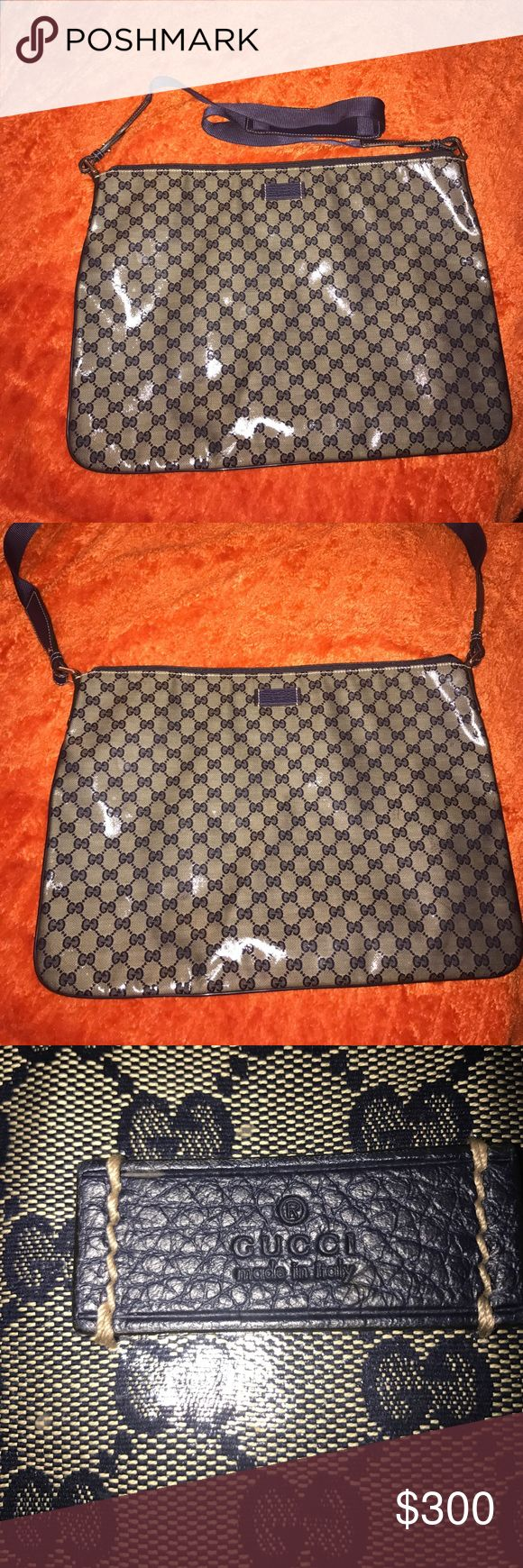 Large Gucci messenger bag Large crystal coated canvas and leather Gucci messenger bag. Big enough to fit a laptop in. I bought it for a diaper bag. However having three kids under 5 this bag was too small for  🤷🏽♀️ my needs. Price is FiRM! Bag has never been worn. Brand new without tags. Gucci Bags Crossbody Bags
