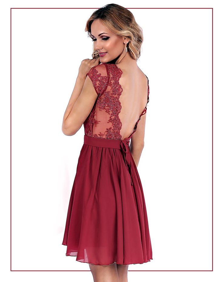 Short evening dress made from veil and precious lace in marsala hues.