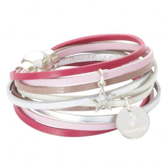 Bracelet en cuir multiliens rose multicolore