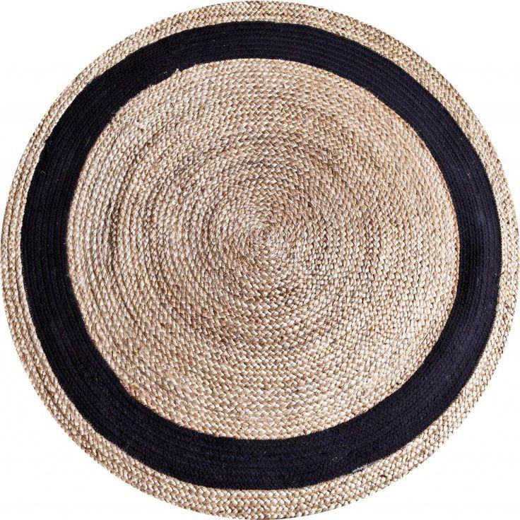 Vloerkleed Jute round 120 cm - natural/Zwart  - By-Boo