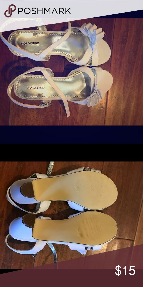Nordstrom White dress shoes Perfect for a wedding or summer / spring formal party! These are white dress shoes with a small rhinestone buckle by Nordstrom. Worn twice! Nordstrom Shoes Heels