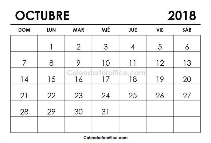 October 2018 Calendar Spanish 2019 Calendar Calendar 2021 Calendar