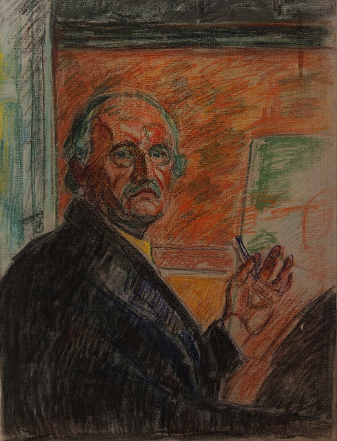 "Edvard Munch, ""Self Portrait"", Pastel"