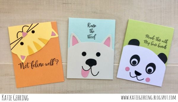 Critter cards by Katie Gehring for Paper Smooches - Cat Dog Card Dies, Bear Frog Card Dies, Critter Card Puns