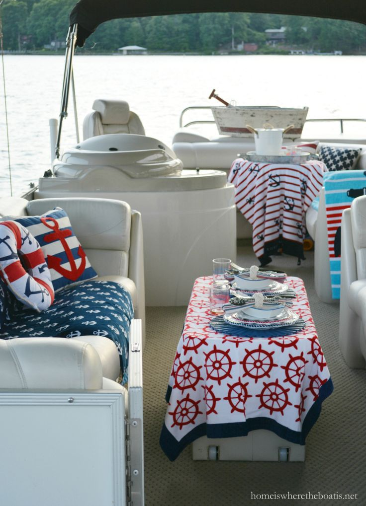 Anchors Aweigh and nautical fun and place setting on the pontoon | homeiswheretheboatis.net #boat #tablescape