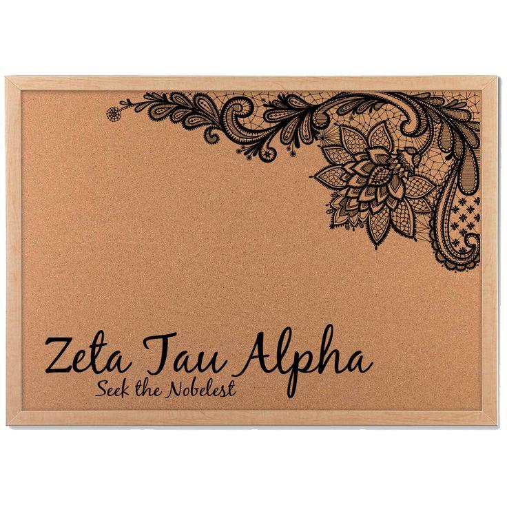 Cork board; Customize; Sorority Gift; Sorority Crafts; Zeta Tau Alpha; Chi Omega; Alpha Xi Delta; Delta Zeta