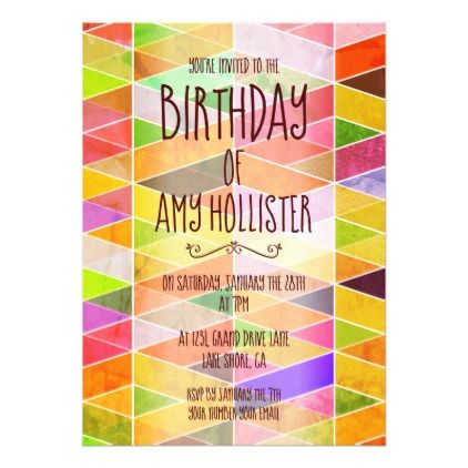 Colorful Geometric Birthday Invitation - pattern sample design template diy cyo customize