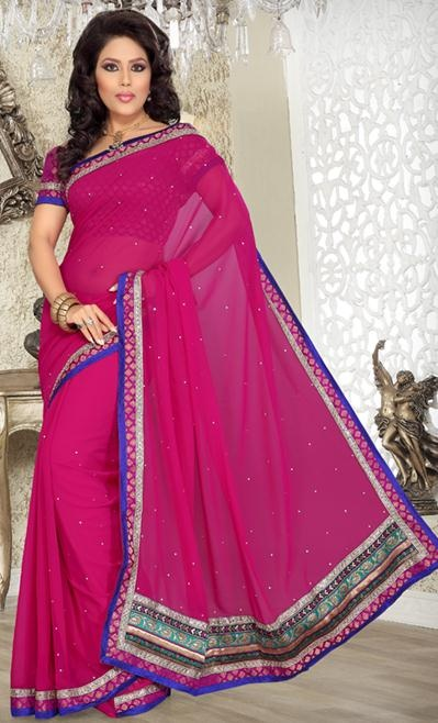 $37.47 Pink Embroidery with Stone Work Chiffon Simple Saree 24154