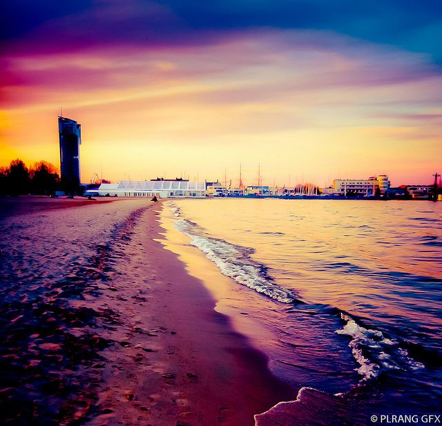 Gdynia, the beach at sunset