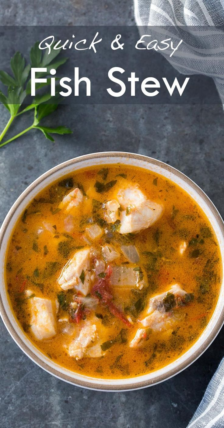 Quick, easy, and absolutely delicious fish stew! Fresh fish fillets cooked in a stew with onions, garlic, parsley, tomato, clam juice and white wine. Takes less than 30 minutes to make! On SimplyRecipes.com