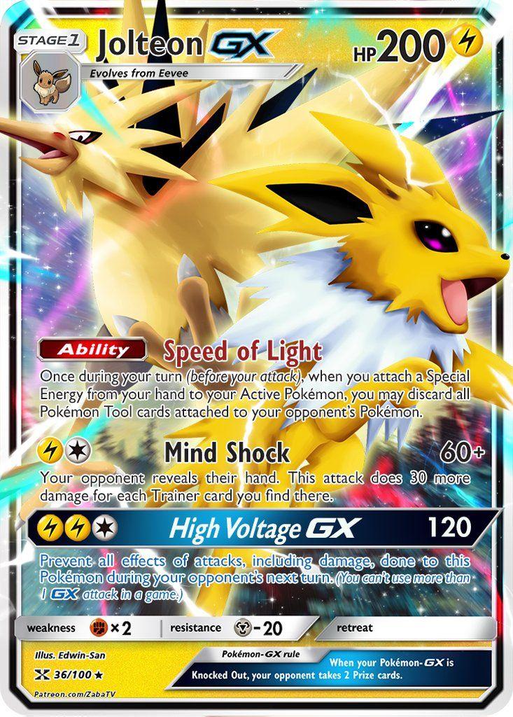Jolteon Gx Custom Pokemon Card Pokemon Cards Cool Pokemon Cards Pokemon