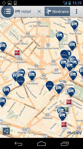 Mappy, l'assistant de tous vos déplacements !<br>La nouvelle application Mappy vous guide au quotidien et vous fait découvrir la vie de votre quartier et des environs…<p>Retrouvez toutes les fonctionnalités de Mappy dans votre poche :<p>•Plan : <br>Repérez-vous et déplacez-vous très simplement dans la carte.<p>•Recherche : <br>Trouvez une adresse, découvrez tous les services et commerces à proximité.<br>Grâce à nos partenaires (PagesJaunes, Accorhotels.com, Booking.com, Total, McDonalds…