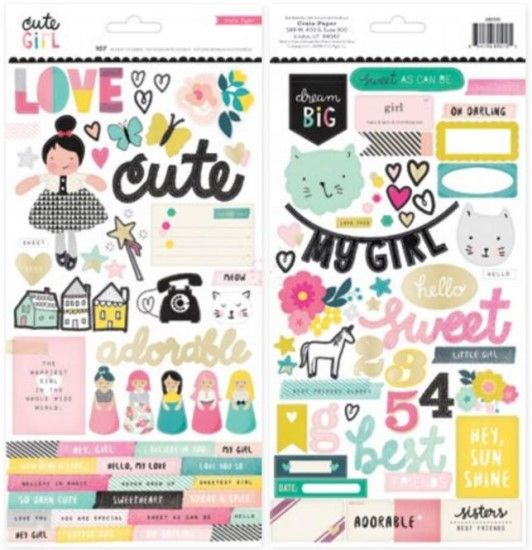 Crate Paper Cute Girl - Foiled Stickers with silver foil 2 sheet