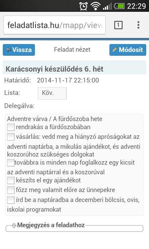 Karácsonyi készülődés 6. hét  online változatban a feladatlista.hu oldalon - képernyőkép mobiltelefonos nézetről