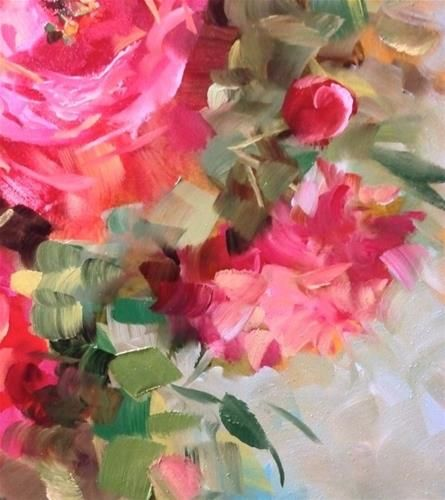 """Daily Paintworks - """"Peonies and Halos Blooming in Flower Mound Studio"""" - Original Fine Art for Sale - © Nancy Medina"""
