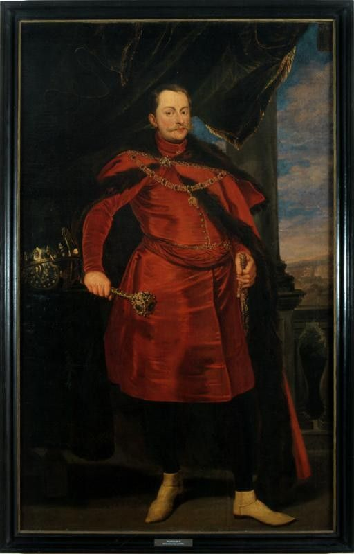 Lietuvos didžiojo kunigaikščio ir Lenkijos karaliaus Vladislovo Vazos (1595–1648) portretas, XVII a. Muziejus rūmai Vilanove. / Portrait of Grand Duke of Lithuania and King of Poland Władysław IV Vaza (1595–1648), 17th c. Palace in Wilanów.