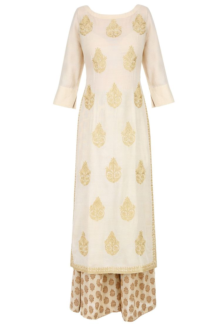 LAJJOO C | Ivory golden thread embroidered kurta with palazzo pants available…