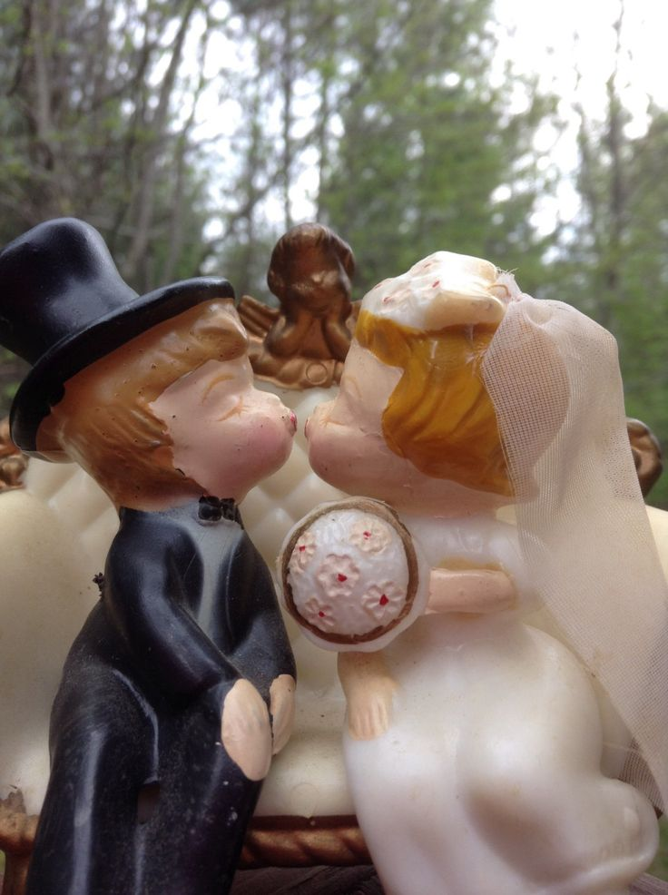 Wedding Cake Topper, Vintage Bride And Groom, Adorable by TheForestSleeps on Etsy