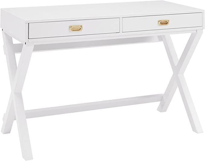 Amazon Com Linon Desk White Kitchen Dining In 2020 Writing Desk With Drawers White Writing Desk Small White Desk