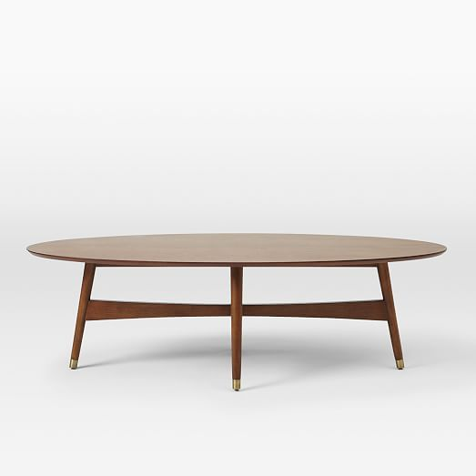 Reeve Mid-Century Oval Coffee Table | West Elm --- a bit pricey, for me, at $499 but way cool