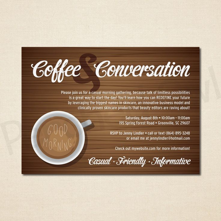 Coffee and Conversation Invitation - Direct Selling ...