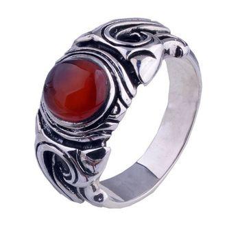 Kekal thai silver antik laki-laki non-mainstream silversmithing anak laki-laki cincin batu akik merah