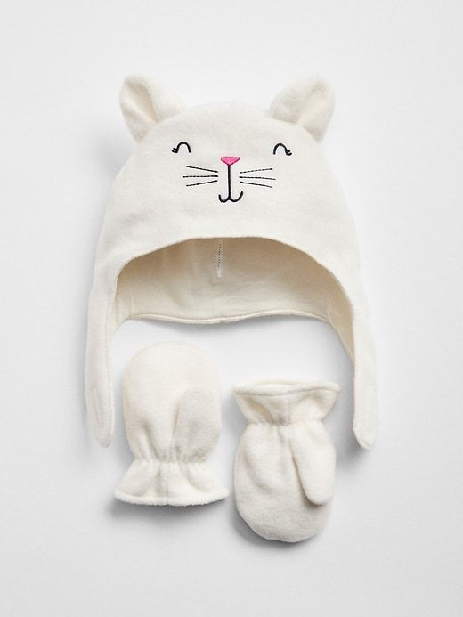 92c7a16309b Gap Baby Cat Trapper Hat Set Ivory Frost