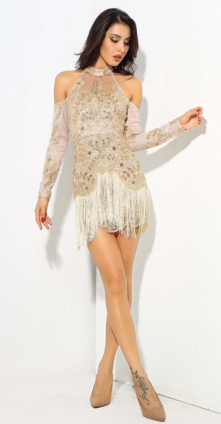 Gold Tassel Lace Sequin Party Bodycon Mini Dress Mini Dress Long Sleeve Mini Dress Cold Shoulder Long Sleeve [ 1400 x 732 Pixel ]