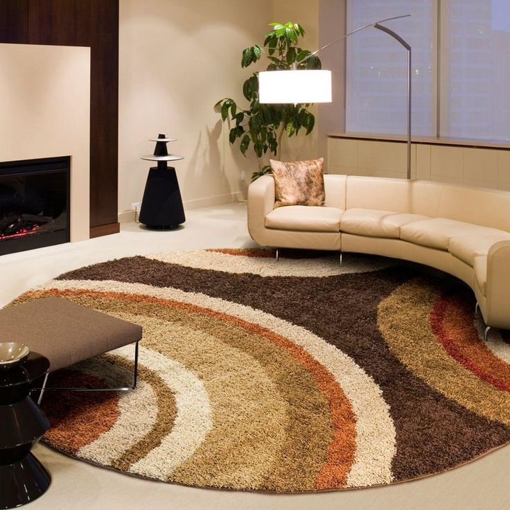 Orian Rugs Eclipse Brown 7 ft. 10 in. Round Area Rug