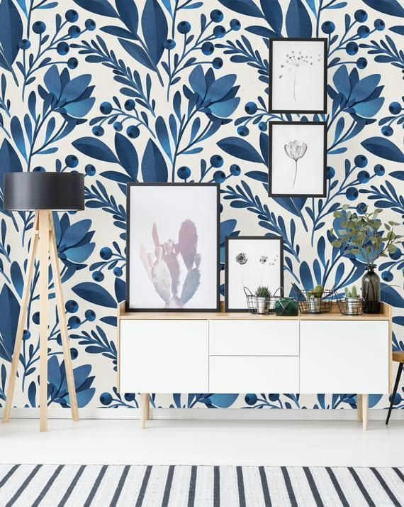 Removable Wallpaper Self Adhesive Wallpaper Blue Flowers And Leaves Peel Stick Wallpaper Home Wallpaper Removable Wallpaper Decor
