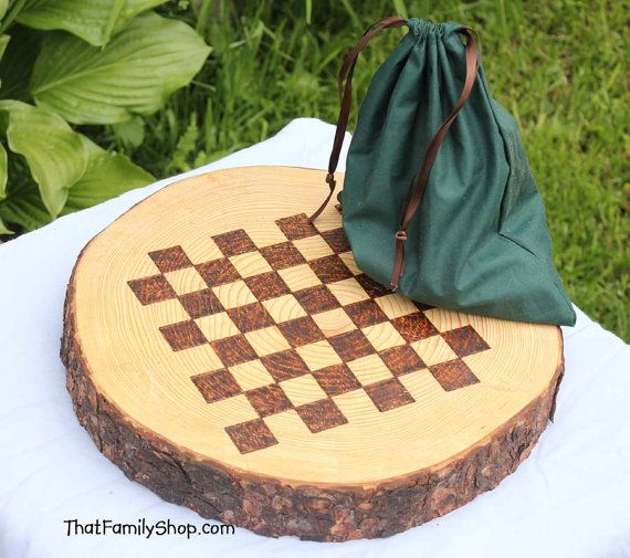 Rustic Log Checker Game Set 26 rustic checker pieces Natural Waldorf Classic Family Board Game on Etsy, $86.00