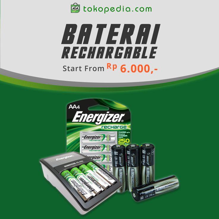 Daya baterai yang kamu pakai cepat habis dan harus beli baterai yang baru lagi? Ngabis-ngabis duit aja deh. Mending kamu beli Baterai Rechargeable yang bisa diisi ulang dengan menggunakan listrik. Mau? Klik http://www.tokopedia.com/hot/baterai-rechargeable