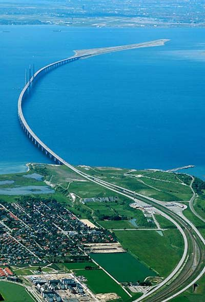 Oresund Bridge – The longest road and rail bridge-tunnel in Europe, connecting Sweden and Denmark