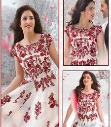 Buy cream embroidered net semi-stitched salwar with dupatta bollywood-salwar-kameez-online online