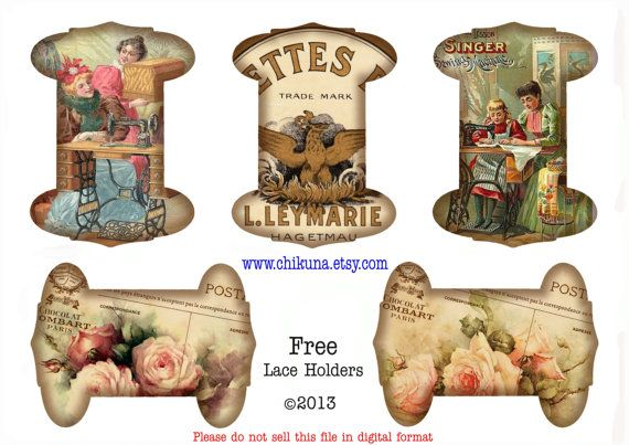 FREEBIE - Free Download Printable Ribbon Lace Spools Vintage Tags - SEW - Digital Image Sheet Download - DIY Print and Cut via Etsy