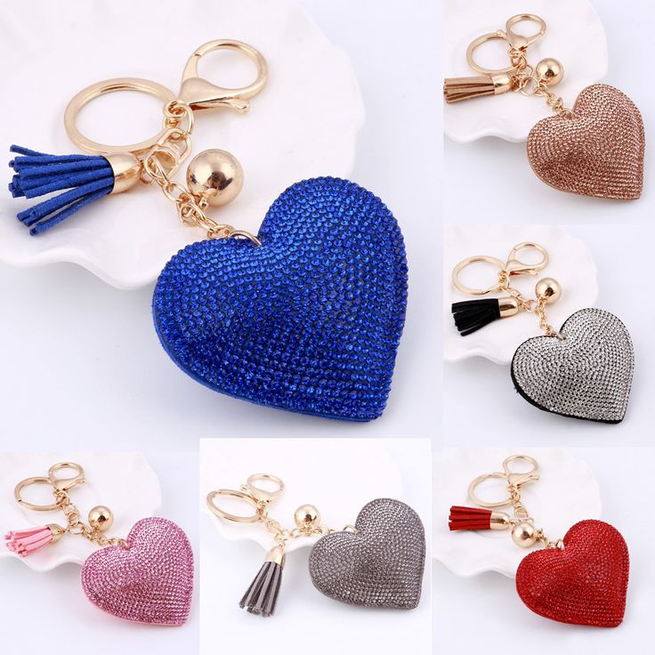 2017 New Fashion Car Play 6 Colors Full Crystal Rhinestone Heart Key Chain Gold Chain Keychain Bag Car Hanging Pendant Jewelry //Price: $3.95 & FREE Shipping //     #hashtag1
