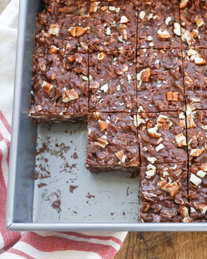 Coconut and pecans are combined with chocolate and peanut butter in this quick and easy chocolate candy.