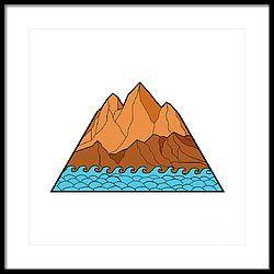 Ragged Mountain Waves Mono Line Framed Print by Aloysius Patrimonio