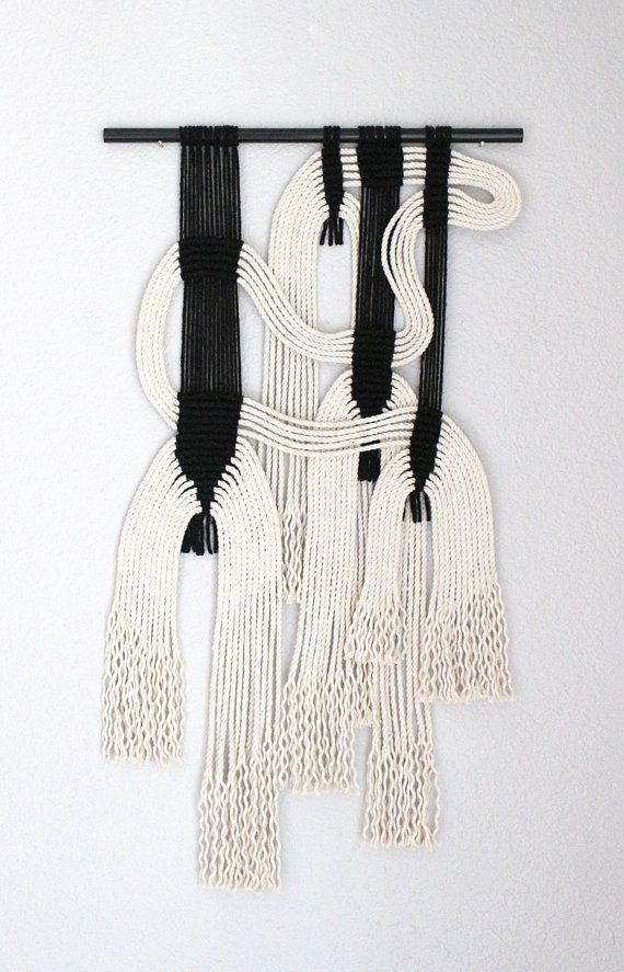 "Macrame Wall Hanging ""blk + wht #9"" by HIMO ART, One of a kind Handcrafted Macrame, rope art"