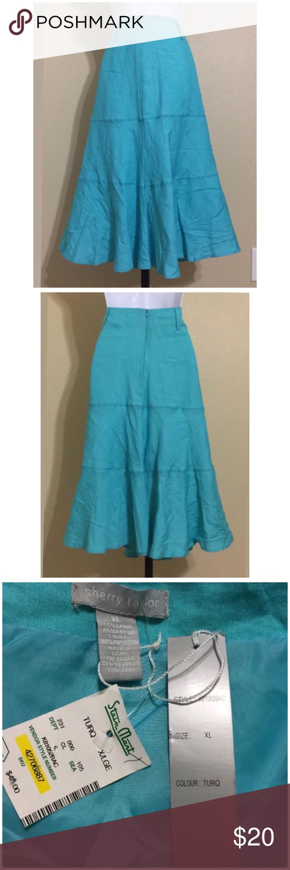 Sherry Taylor Turquoise Skirt Size XL Sherry Taylor Women's Trumpet Style Skirt Size XL Blue Color Side Zip Lined Machine Washable 55% Ramie 45% Rayon Lining 100% Polyester Waist Approx. 34 Inches Hips Approx. 42 Inches Front Length Approx. 28 Inches Rear Length Approx. 28 Inches Sweep Approx. 88 Inches Compare Measurements To Your Own Well Fitting Garment To Ensure A Great Fit MSRP $ 48.00 New With Tag 3rd Photo shows color better Sherry Taylor Skirts Midi
