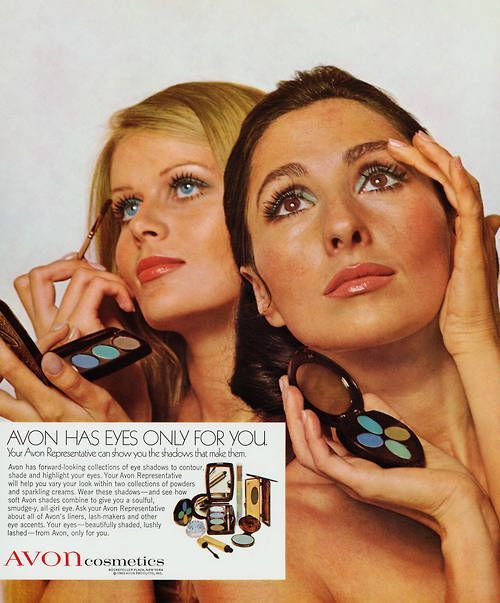 Vintage ad created in 1969 featuring Avon eye shadow products. Headline: Avon Has Eyes Only for You. See Avon's forward-looking collection of eyeshadows to contour, shade and highlight your eyes > http://www.avon.com/category/makeup/eyes/eyeshadow/?c=repPWP&repid=9720704