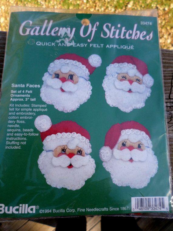 Vintage 1994 Bucilla Felt Beads & Sequins Christmas Santa Face