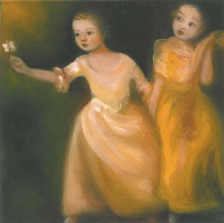 Girls chasing a butterfly. After Gainsborough Oil on canvas 2015