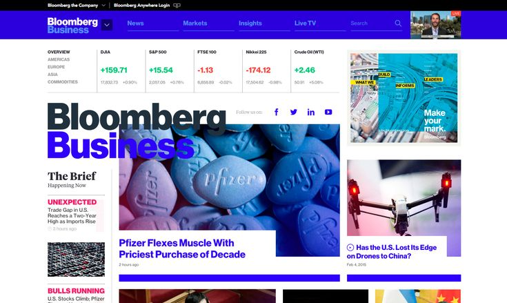 Bloomberg Business - Site of the Day February 06 2015. By Code and Theory. #color #webdesign