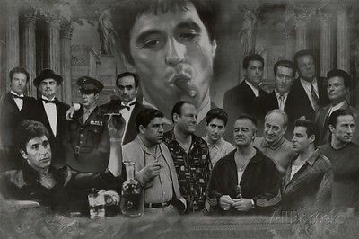 Gangsters Collage Godfather Goodfellas Scarface Sopranos Movie Poster Print