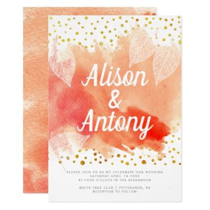 Coral watercolor gold confetti typography wedding card - gold wedding gifts customize marriage diy unique golden