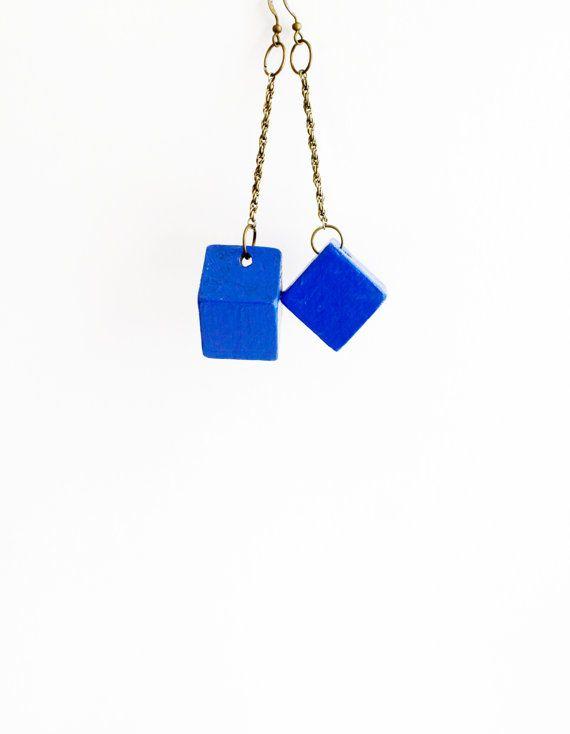 Blue earrings ethnic cube wooden earrings drop by TACEHandmade