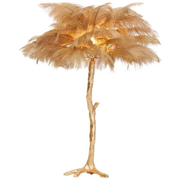 Golden Feathered Tree Lamp Gold 1 850 Liked On Polyvore Featuring Home Lighting Table Lamps Brown Golden Palm Tree Lamp Feather Tree Small Palm Trees