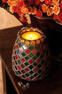 Creative Company   Mosaics decorative ideas – Iridescent candle holder