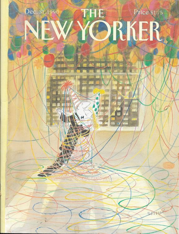 Vintage New Yorker magazine for December 31 1990 beautiful cover graphics Free Shipping
